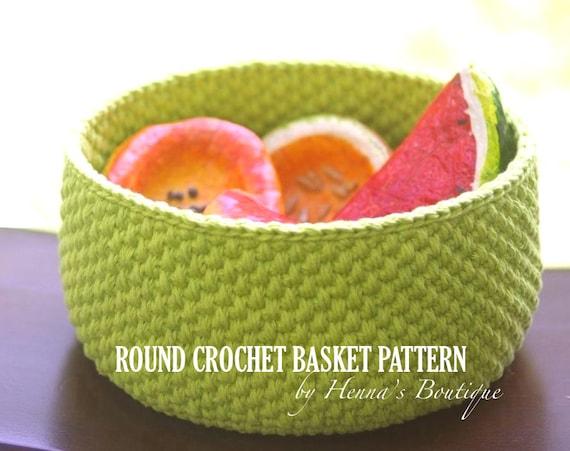 Crochet Basket Pattern Round Crochet Basket Size Small Etsy