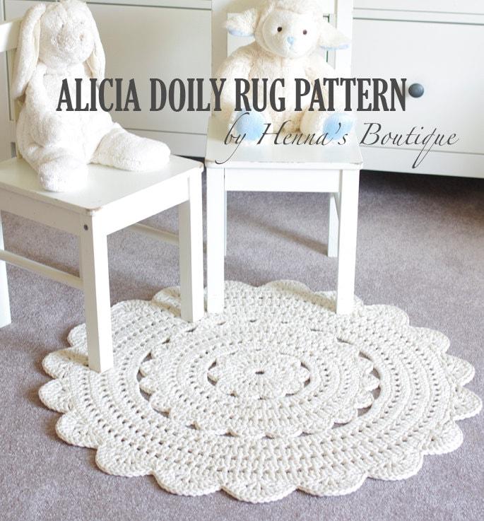 Crochet Doily Rug Pattern Alicia 28 Inch Rug Etsy