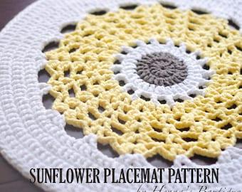 Crochet Placemat Pattern - Sunflower Placemat - PDF