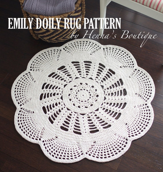 Crochet Doily Rug Pattern Pack Three doily rugs PDF   Etsy