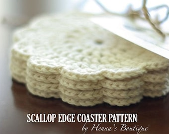 Crochet Coaster Pattern - Scallop Edge Coasters - PDF