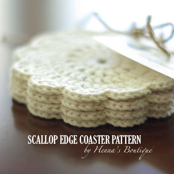 Crochet Coaster Pattern Scallop Edge Coasters Pdf Etsy