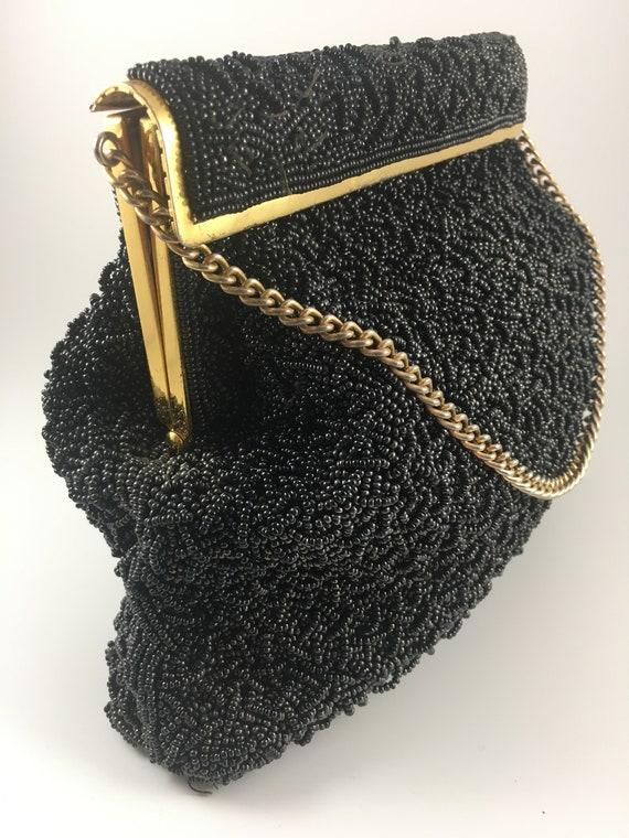 Vintage Black Beaded Purse 1950s