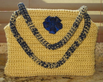 Autumn Maize  Yellow Large Tote with dark blue metal flower brooch