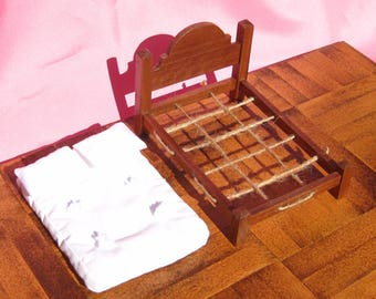 Dollhouse Double Bed Mini Double Bed 12th Scale Walnut Rope Bed Smalll Doll Bed Full Size 12th Scale Dollhouse Bed One Inch Scale Full Bed