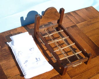 Dollhouse Single Bed Mini Twin Bed 12th Scale Walnut Rope Bed Smalll Doll Bed Twin Size 12th Scale Dollhouse Bed One Inch Scale Single Bed