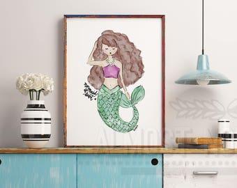 Watercolor Mermaid at Heart Art Print