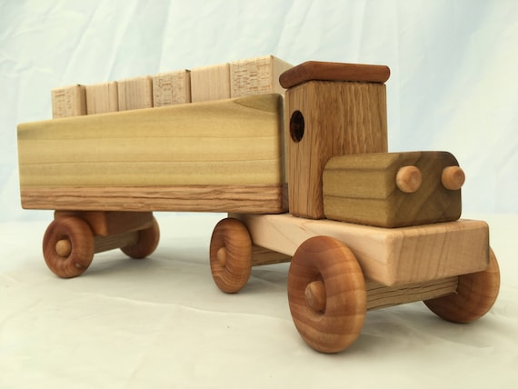 Heavy hauler toy truck with wooden blocks