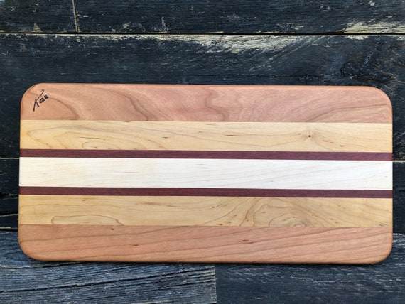 Cheese board made from bloodwood maple and cherry woods