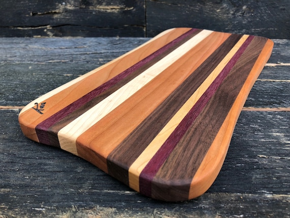 Cheese board made from walnut, maple, purple heart and cherry woods
