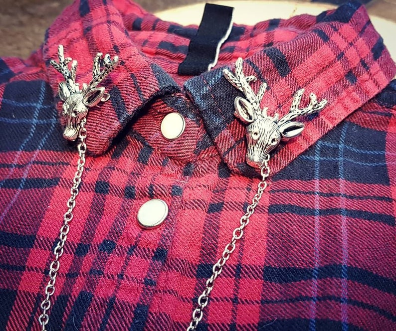 Deer collar pin brooch lapel pin silver color hunter brooch winter woods accessory