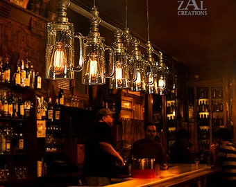 Pendant Light. Beer  Mug Suspension Lamp with vintage style Edison bulbs.