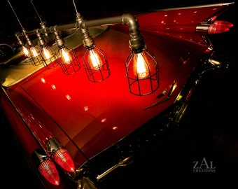 Pendant Light, Wire cage, Industrial Suspension light with vintage style Edison bulbs.