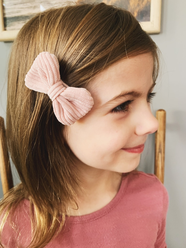 Light Pink Bow Clip Corduroy Bow Clip Gifts Girl -Light Light Pink Corduroy Bow Clip Gift for Little Girl