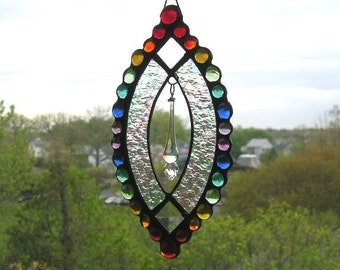 Stained Glass Rainbow Suncatcher|Rainbow Stained Glass and Gems|Swarovski Crystal|Original Design|Handcrafted|Made in USA