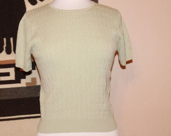 Mint Knit Sweater Top Vintage 90s Karen Scott / Spring Sweater / Sea Foam Green