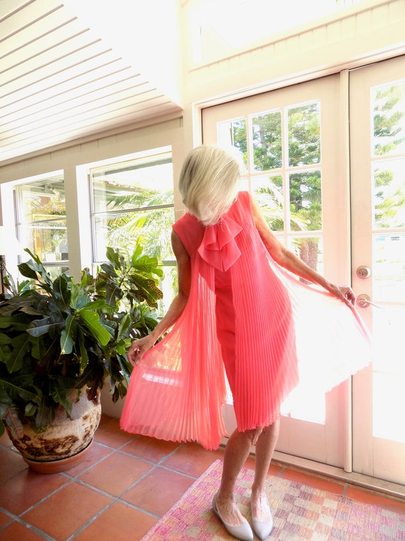 Vintage coral chiffon pleated cocktail dress 1960'