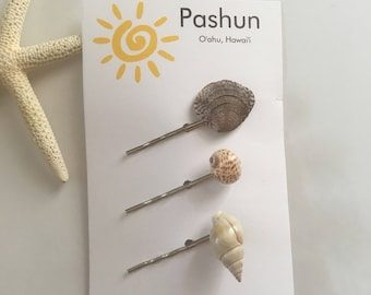 Seashell Hair Accessories ... Shell Hairpin Set of Three (1677)