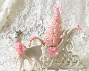 shabby christmas sleigh with glittered reindeer pink bottlebrush tree shabby cottage chic pink christmas pink holiday decor fanny pippi