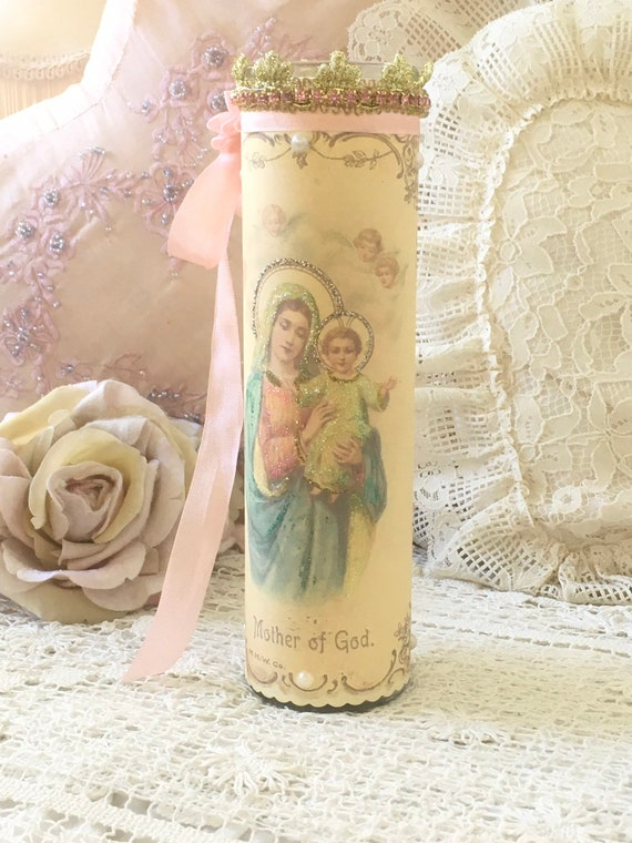Virgin Mary Prayer Candle Mother Of God Madonna Shabby Christmas Candle Altar Decor Shrine Blessed Mother Devotional Candle