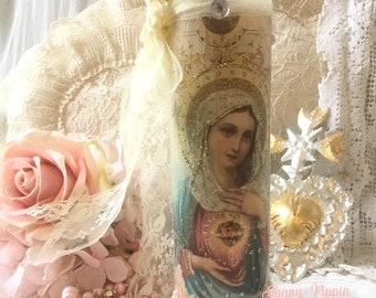 Shabby Virgin Mary Prayer Candle, Madonna, religious candle, Altar Decor, Religious Shrine, Religious Art, Sacred Heart Of Mary, Catholic