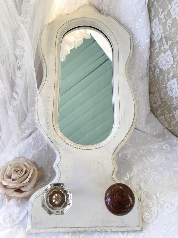 Shabby Farmhouse Mirror Oval Mirror White Distressed