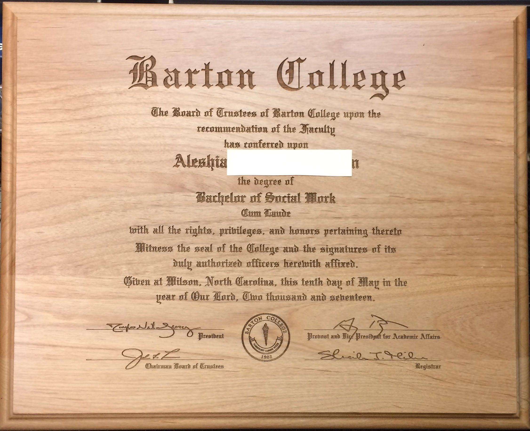 Diploma Laser Engraved Wood College High School Certificate