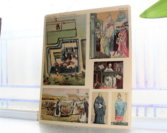 Middle Ages Church and Monks Card 1930s Comptons Picture Teaching Unit