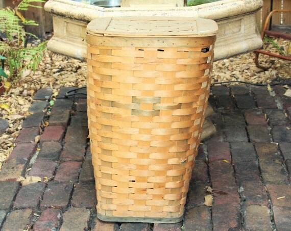 Large Vintage Wicker Basket with Wooden Lid Farmhouse Decor Storage Hamper