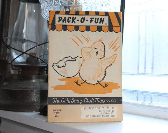 Vintage 1950s Pack-O-Fun Crafts Book Scrap Craft Magazine March 1959