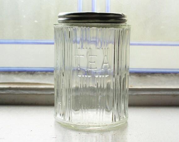 Antique Hoosier Jar Paneled Tea Canister