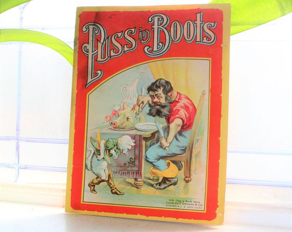 Antique Children's Book Puss In Boots Victorian Early 1900s