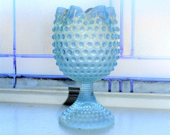 Opalescent Blue Hobnail Glass Ivy Ball Vase Crimped Top