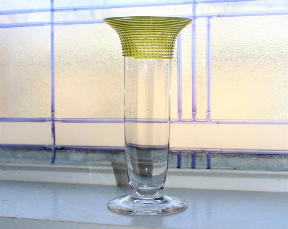 Vintage Art Deco Glass Vase Spiral Top Trumpet Vase Art Glass