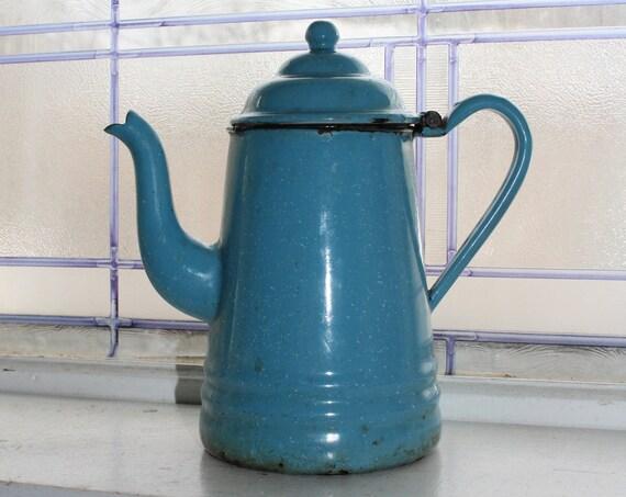 Antique Enamelware Coffee Pot Goose Neck Spout Robins Egg Blue