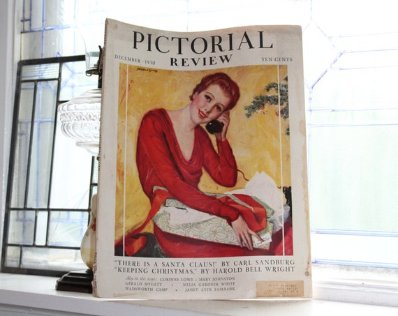 1930 Magazine Pictorial Review with Dolly Dingle Paper Doll Vintage Art Deco Fashion