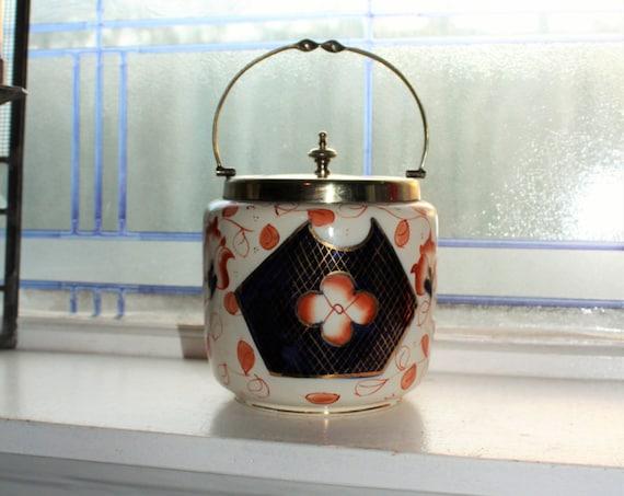 Antique Biscuit Jar Porcelain and Silverplate J B C & S Cookie Jar