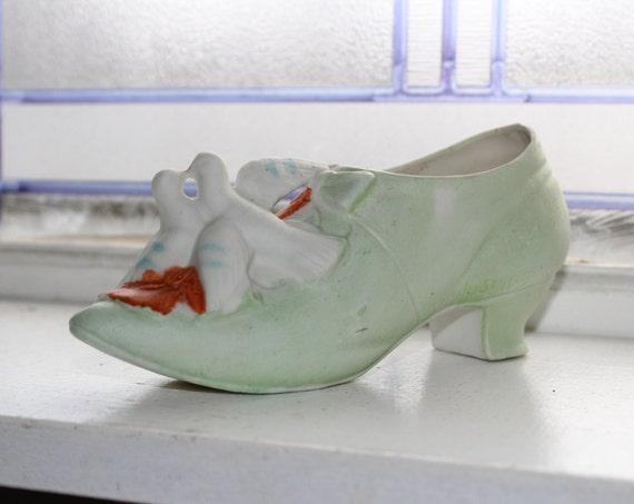 Antique Porcelain Shoe Souvenir with Love Birds