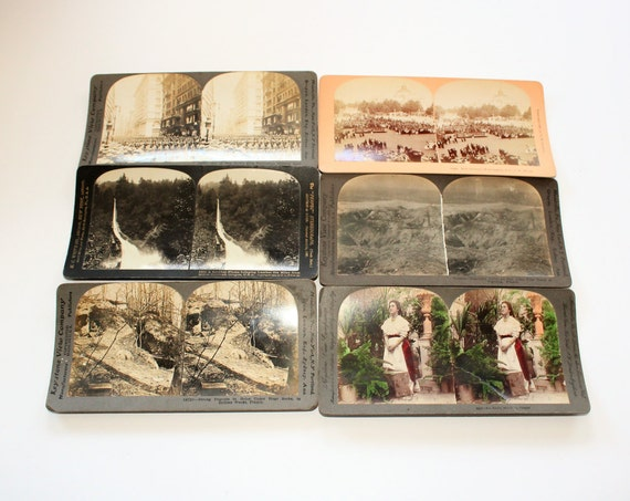 6 Antique Stereoviews WWI Related and More