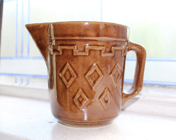 Vintage Stoneware Pitcher Brown Glazed 1940s Farmhouse Decor