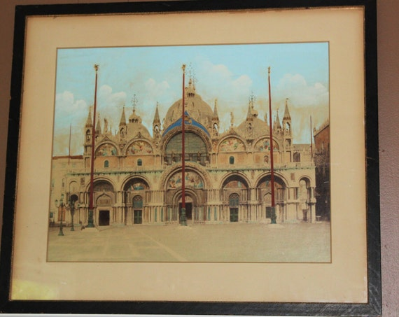 Huge Hand Colored Photograph St. Mark's Cathedral Venice Antique Albumen Paolo Salviati