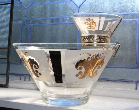 Mid Century Chip and Dip Bowl Set Vintage 1950s White and Gold Fleur De Lis