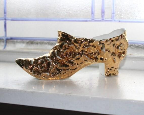Antique Porcelain Shoe Souvenir