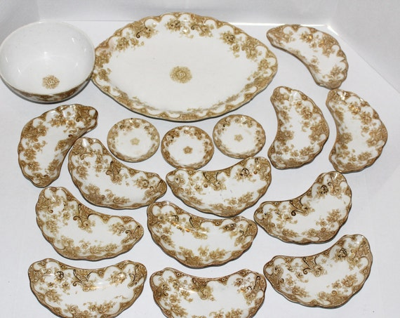 Upper Hadley Pottery England 17 Pieces Victoria Pattern Antique Bone Dishes Butter Pats Platter Bowl