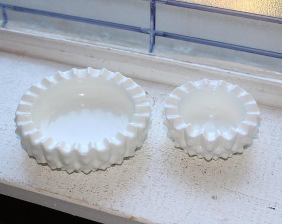 Vintage Fenton Milk Glass Hobnail Round Ashtrays Pair