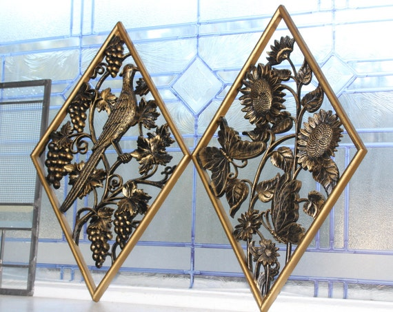 Vintage 1960s Wall Plaques Pair Diamond Shaped Retro Decor Burwood Products