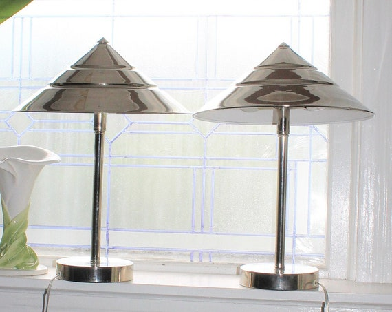 Vintage Art Deco Chrome Lamps with Cone Shade