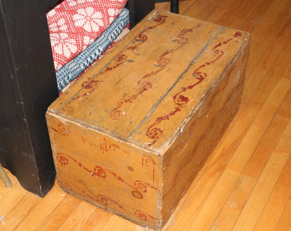 Antique Paint Decorated Wooden Chest 19th Century Folk Art Trunk