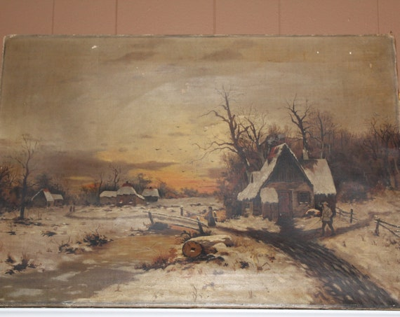 Antique North Dakota Folk Art Painting Winter Farm Scene 1890