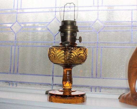 Vintage Aladdin Amber Glass Washington Drape Oil Lamp with Chimney & Wick